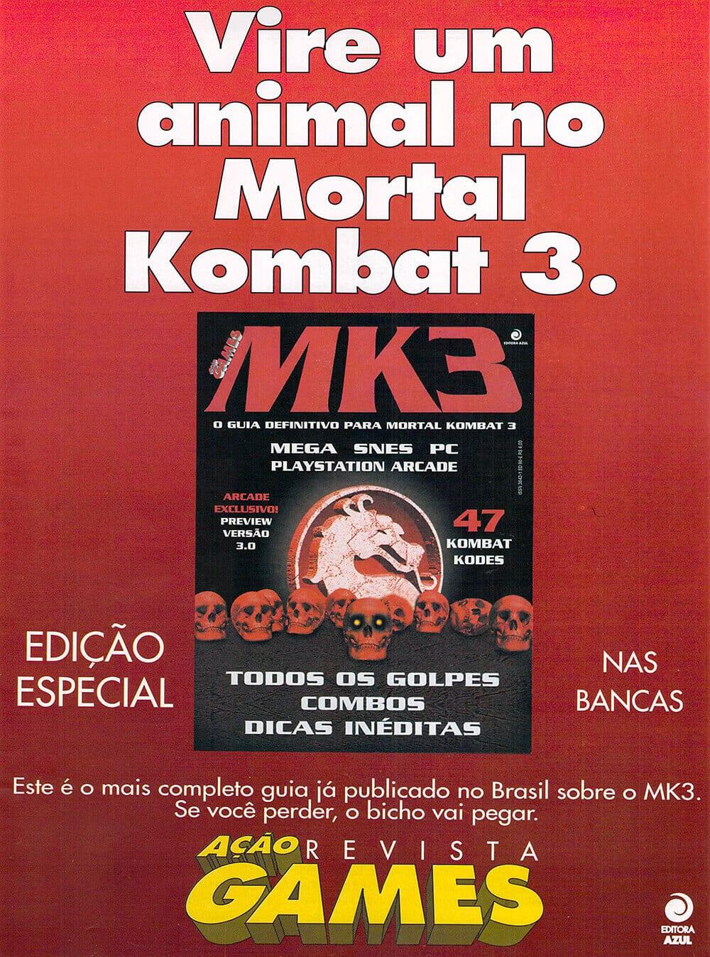 Propaganda Mortal Kombat 3 especial Ação Games