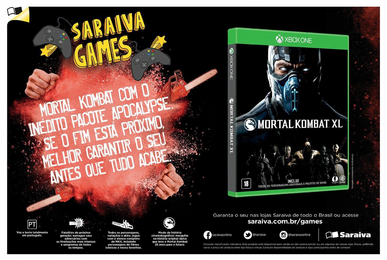 Propaganda Saraiva Mortal Kombat XL para Xbox
