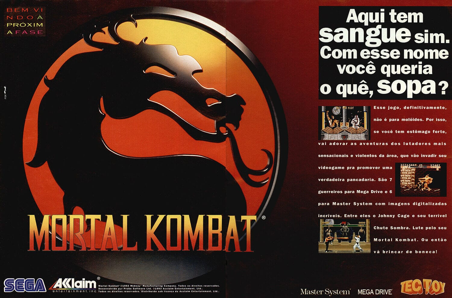 Propaganda antiga do Mortal Kombat