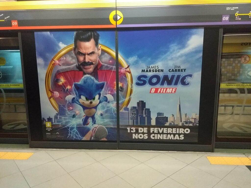 Sonic O Filme no Metrô de São Paulo